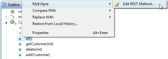 Outline Context Menu